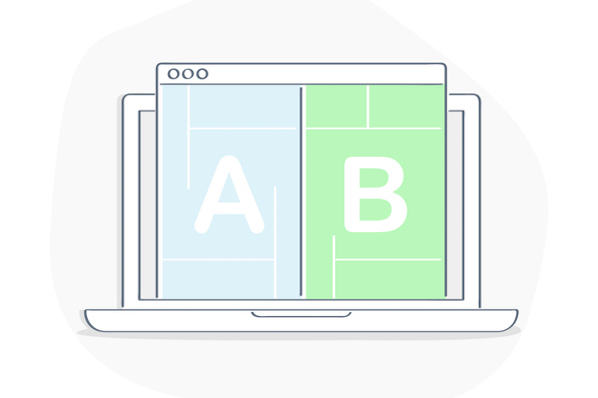 A/B Testing, Bug Fixing, Usability Test, User Feedback, Comparison of Designs Process on Computer Desktop, Split Testing. Application Development. Flat line isolated vector illustration on white